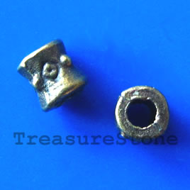 Bead, antiqued brass finished tube, 3x5mm. Pkg of 30.