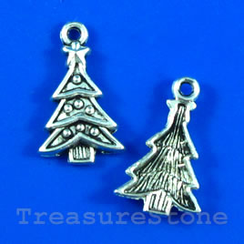 Pendant/charm, 14x20mm christmas tree. Pkg of 12.