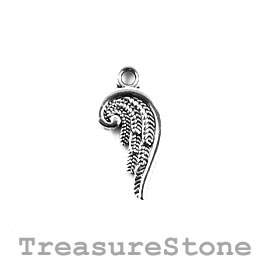 Charm/Pendant, silver-plated, 16mm angel wing. Pack of 12.