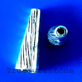 Cone, antiqued silver-finished, 10x28mm. Pkg of 4.