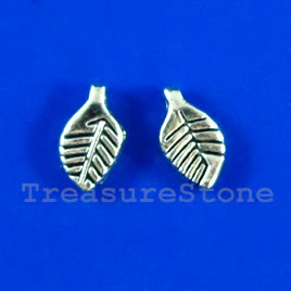 Charm, silver-finished, 5x9mm leaf. Pkg of 20.