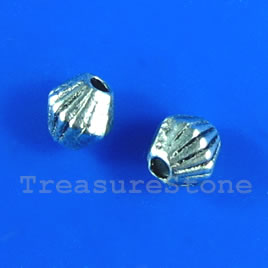 Bead, antiqued silver-finished, 4mm bicone. Pkg of 35.