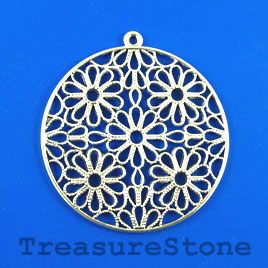 Pendant, silver-finished, 50mm flower. Sold individually.
