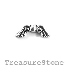 Bead, silver-plated, 8x20mm angel wings. Pkg of 10.