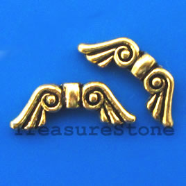 Bead, gold-finished, 8x20mm angel wings. Pkg of 8.