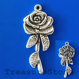 Pendant/charm,silver-finished, 18x40mm flower. Pkg of 2.