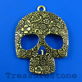 Pendant, brass-colored, 49x60mm skull. Sold individually.