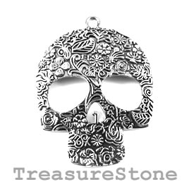 Pendant, silver-colored, 49x60mm skull. Sold individually.