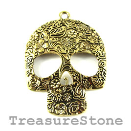 Pendant, gold-colored, 49x60mm skull. Sold individually.