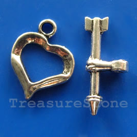 Clasp, toggle, antiqued silver-finished,12x13mm heart. Pkg of 9.