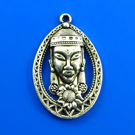 Pendant, silver-finished, 23x33mm buddha head. Pkg of 2.
