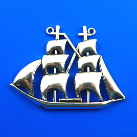 Pendant, silver-finished, 65mm boat. Each.
