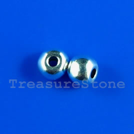 Bead, silver-finished, 4mm round. Pkg of 25.