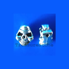 Bead, antiqued silver-finished, 6x8x5mm skull. Pkg of 15.