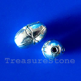 Bead, antiqued silver-finished, 6x10mm oval. Pkg of 15.