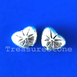 Bead, antiqued silver-finished, 7x8mm heart. Pkg of 20.
