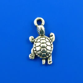 Charm, silver-finished, 14x19mm turtle. Pkg of 6.