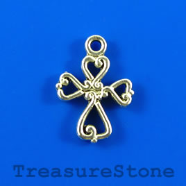 Charm/pendant, silver-plated, 14x16mm cross. Pkg of 12.
