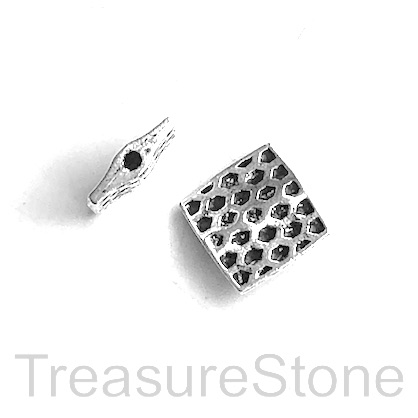 Bead, antiqued silver-finished, 12mm flat square. Pkg of 8