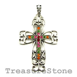 Pendant, 42x60mm filigree cross with crystals. Each.