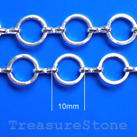 Chain, brass, rhodium-plated, 10mm. Sold per pkg of 1 meter.