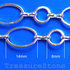 Chain, brass, silver-finished, 14x10/8mm. Pkg of 1 meter.