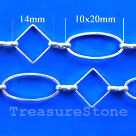 Chain, brass,silver-finishe,14/10x20mm. Sold per pkg of 1 meter.