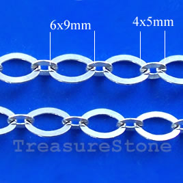 Chain, brass, silver-finished, 4x5/6x9mm. Pkg of 1 meter.