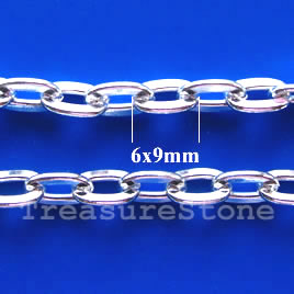 Chain, brass, silver-finished, 14mm. Sold per pkg of 1 meter.