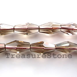 Bead, smoky quartz, 10x18mm faceted bicone. 16-inch strand.