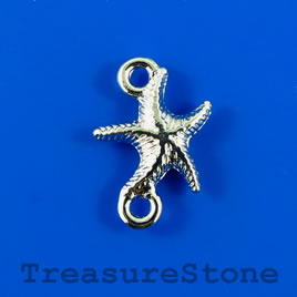 Link/charm, silver-finished, 13x19mm starfish. Pkg of 6