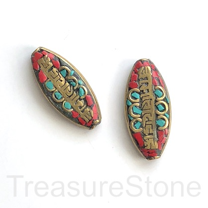 Bead, Tibetan Inlay, Mosaic,handmade,brass,14x31mm flat oval.ea