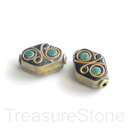 Bead, Tibetan Inlay, Mosaic,handmade,brass,14x19mm flat.ea