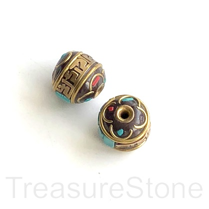 Bead, Tibetan Inlay, Mosaic,handmade,brass,12x13mm drum.ea