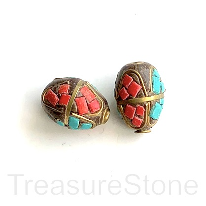Bead, Tibetan Inlay, Mosaic,handmade,brass,13x17mm oval.ea