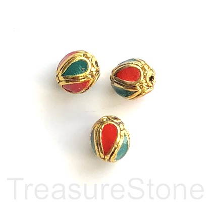 Bead, Tibetan Inlay, Mosaic, Ethnic,handmade,brass,10mm round.ea