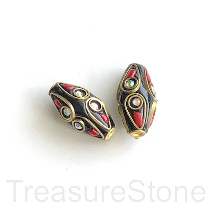 Bead, Tibetan Inlay, Mosaic,handmade,brass,10x20mm rice.ea