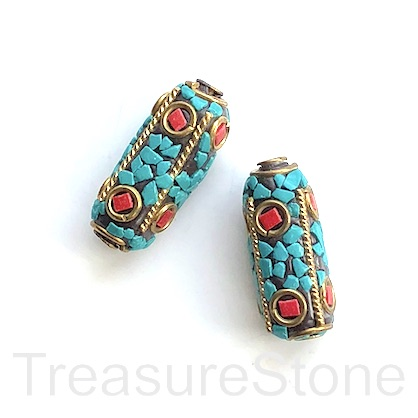 Bead, Tibetan Inlay, Mosaic,handmade,brass,12x27mm flat tube.ea
