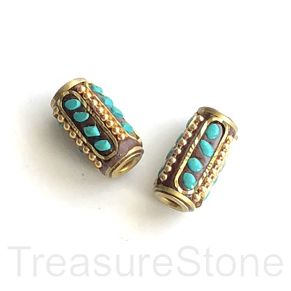 Bead, Tibetan Inlay, Mosaic,handmade,brass,10x18mm tube.ea