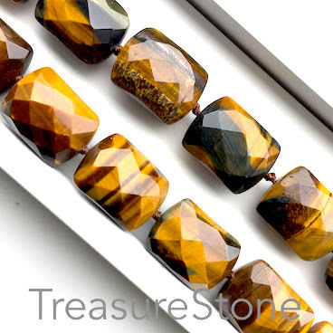 Bead, Tiger's Eye, 15x20x11mm faceted pillow. 19pcs
