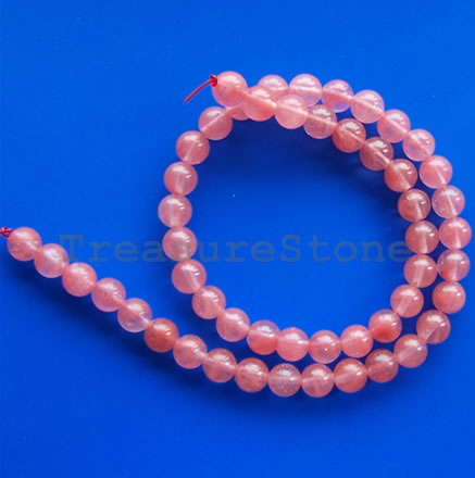 Bead, cherry quartz glass, 6mm round. 15-inch, 63pcs
