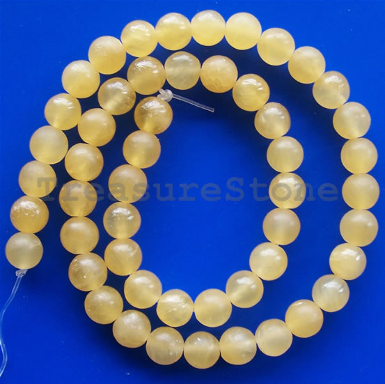 Bead, yellow Jade, 8mm Round. 15 inch, 45pcs