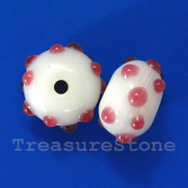 Bead, lampworked glass, white, 9x13mm rondelle. Pkg of 6.