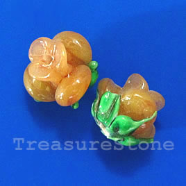 Bead, lampworked glass, 10x12mm flower, yellow rose. Pkg of 5.