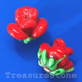 Bead, lampworked glass, 10x12mm flower, red rose. Pkg of 5.
