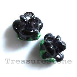Bead, lampworked glass, 10x12mm flower, black rose. Pkg of 5