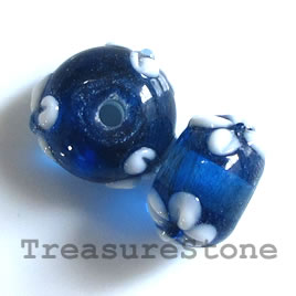 Bead, lampworked glass, blue, 9x13mm rondelle. Pkg of 6.