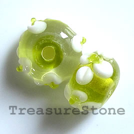 Bead, lampworked glass, 8x13mm bumpy rondelle. pkg of 6.