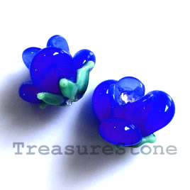 Bead, lampworked glass, 10x12mm flower, blue rose. Pkg of 5