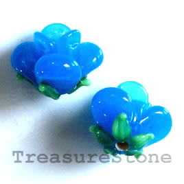 Bead, lampworked glass, 10x12mm flower, blue rose. Pkg of 5.